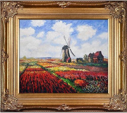 overstockArt Monet-Tulip Field Artwork with The Rijnsburg Windmill with Renaissance Bronze Frame