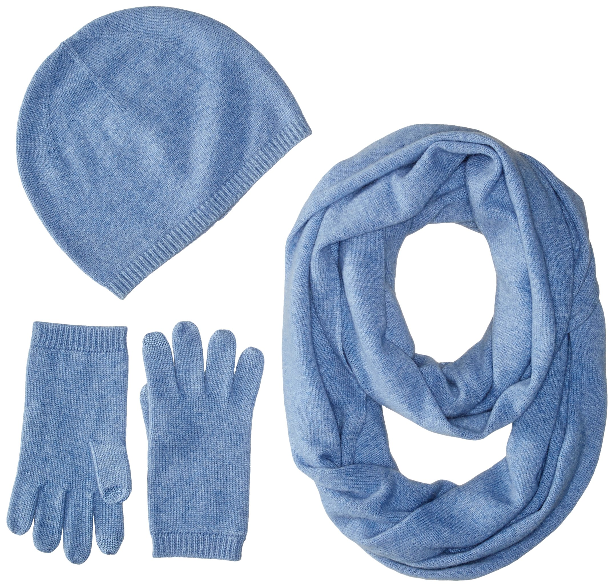 Sofia Cashmere Women's Gift Box Set - Hat, Smartphone Gloves, and Infinity Scarf, dusty blue, ONE