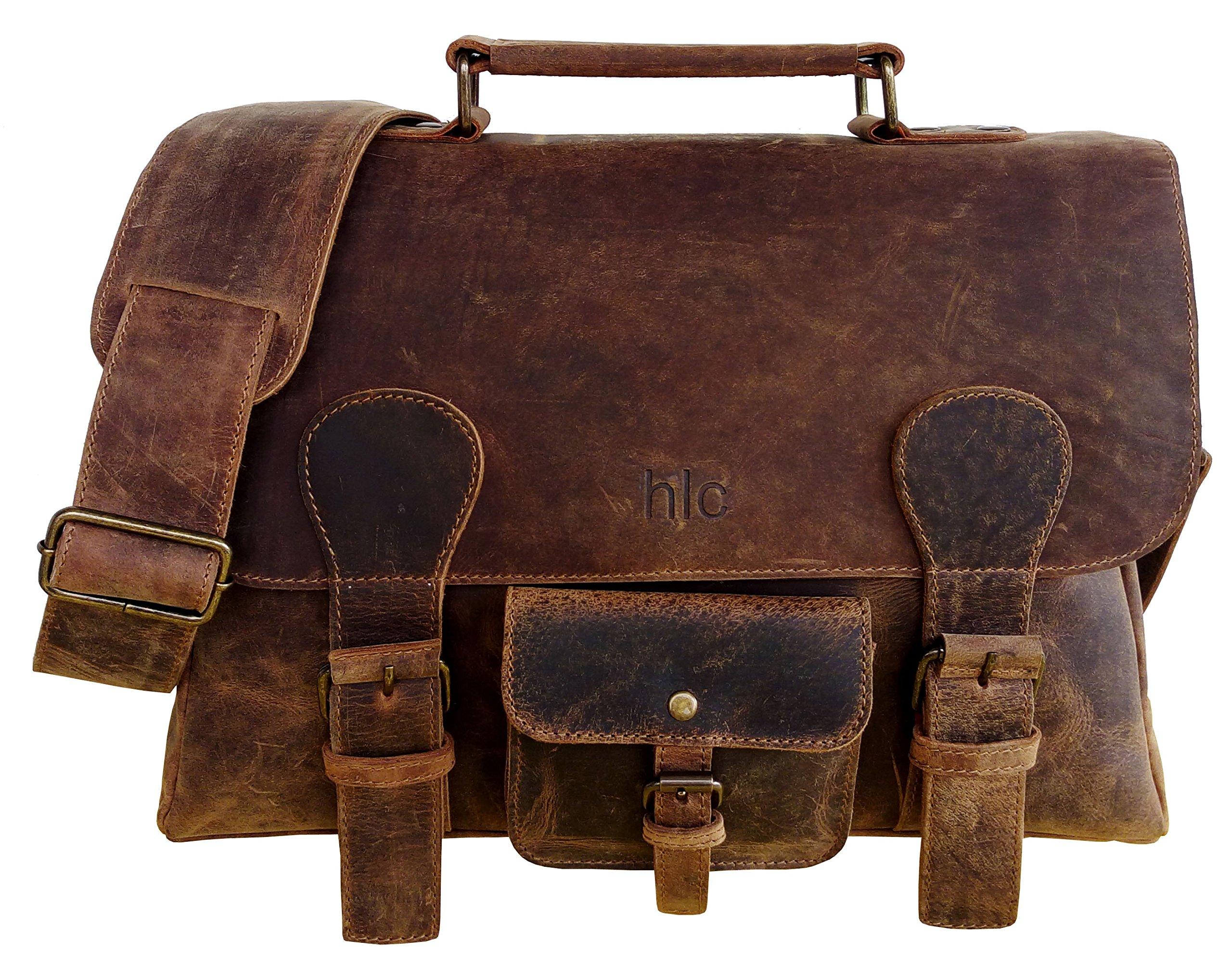 Handolederco 15.5 Inch Retro Buffalo Hunter Leather Laptop Messenger Bag Office Briefcase College Bag