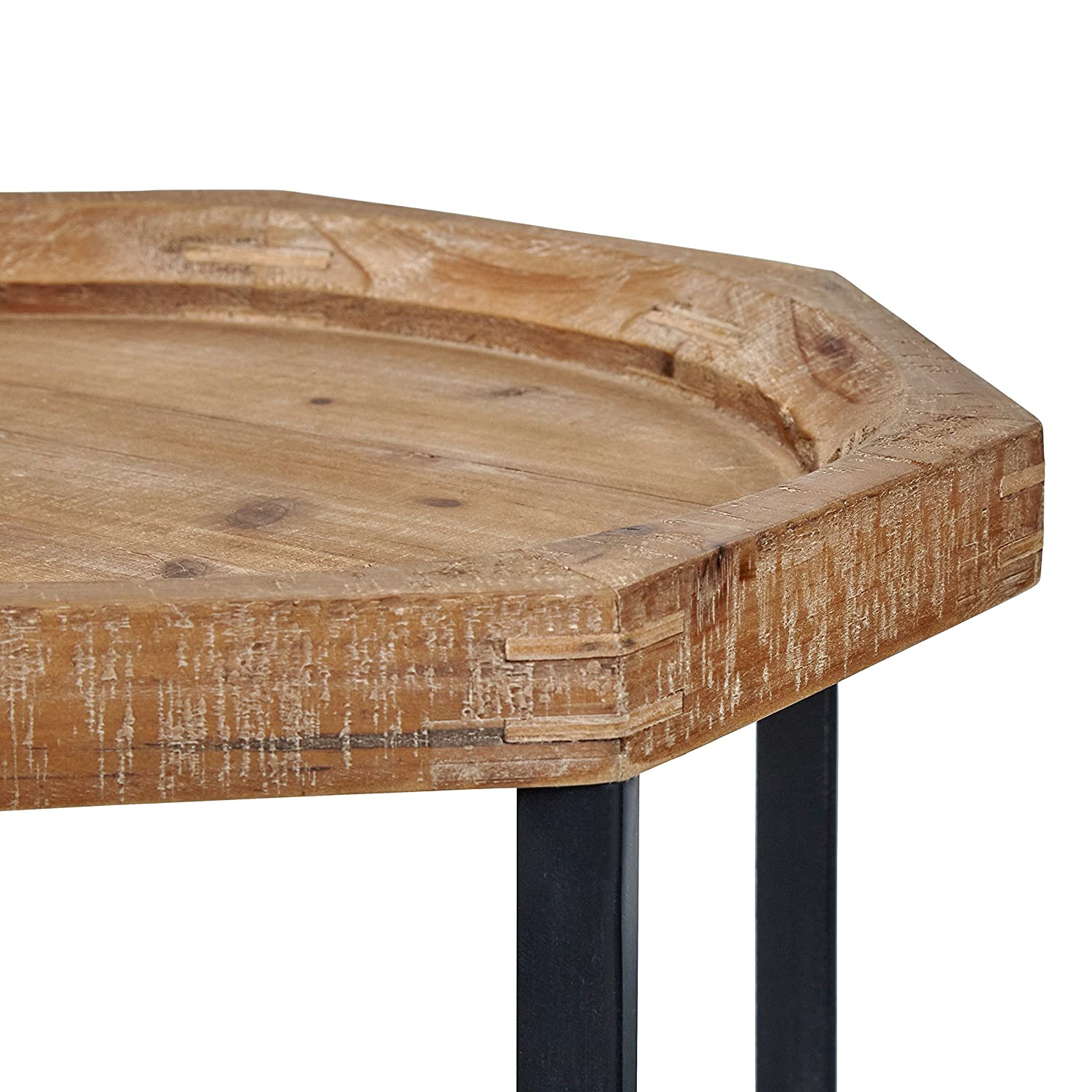 Stone Beam Arie Rustic Octagonal End Table, 17.3 W, Natural