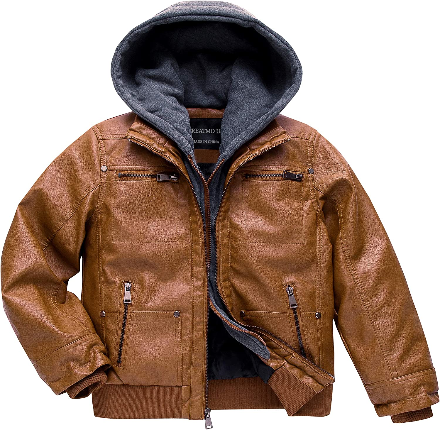 Boy's Faux NEW before selling Discount mail order Leather Jacket Windproof Winter Coat Bomber Kids Warm