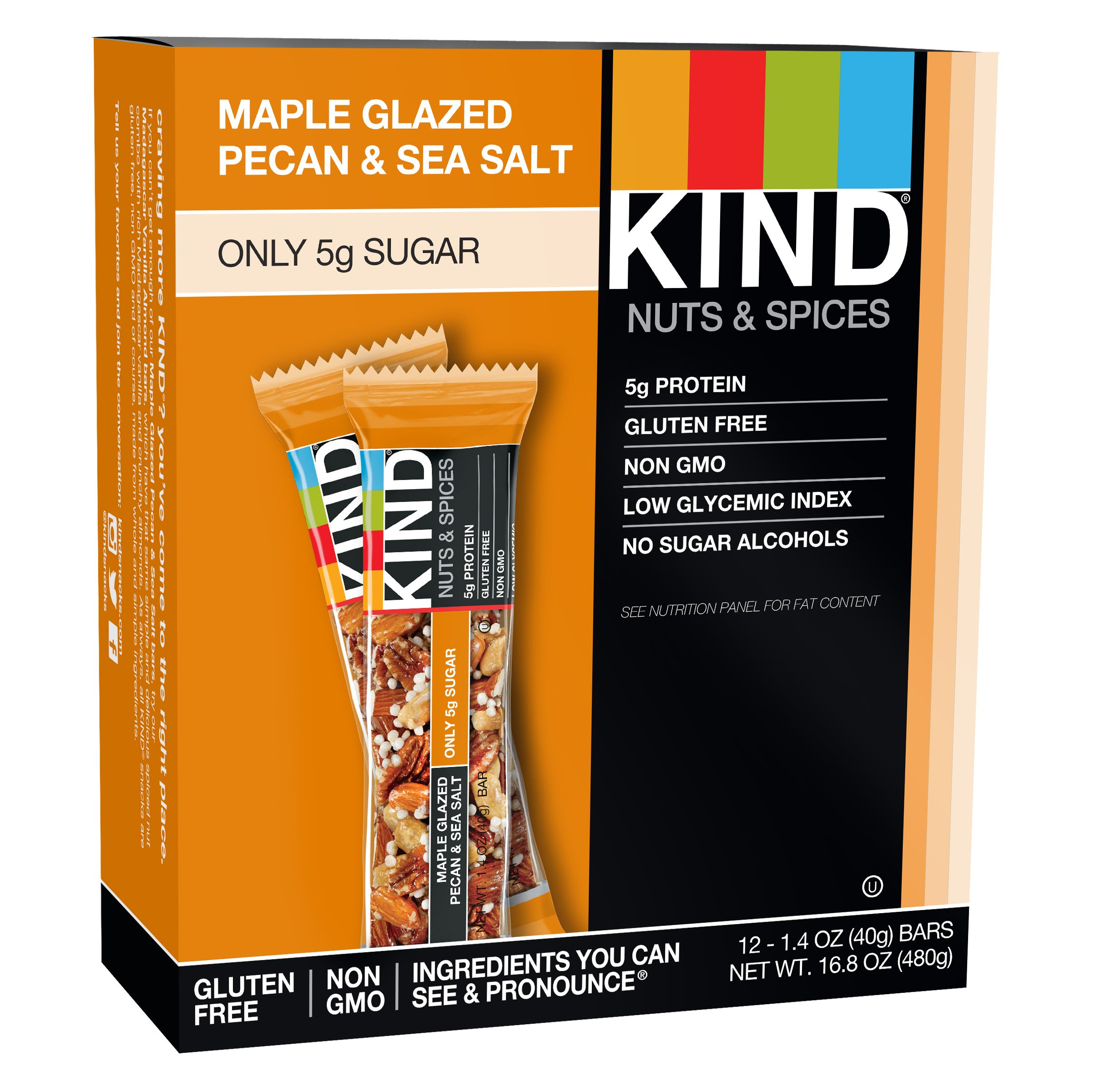 KIND Nuts & Spices, Maple Glazed Pecan & Sea Salt, 1.4 Ounce 12-Count Bars