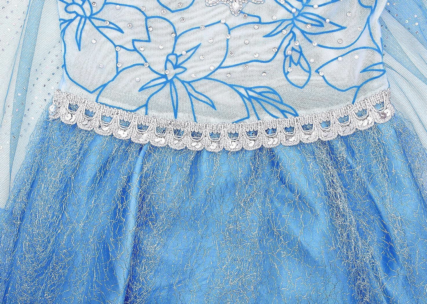AmzBarley Regina delle Nevi Costume Principessa Vestito Abito per Bambina Ragazza Carnevale Cosplay Partito Festa Vestiti Operato Compleanno