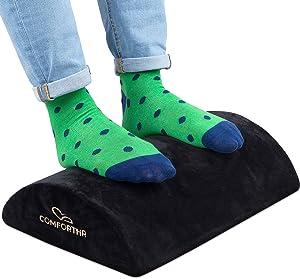Comforthr Foot Rest Under Desk - Home & Office Essential Foot Stool Under Desk - Footrest for Desk to Relief Pain - Under Desk footrest - Travel Foot Rest Pillow - Removable Cover - Sponge Foam Core