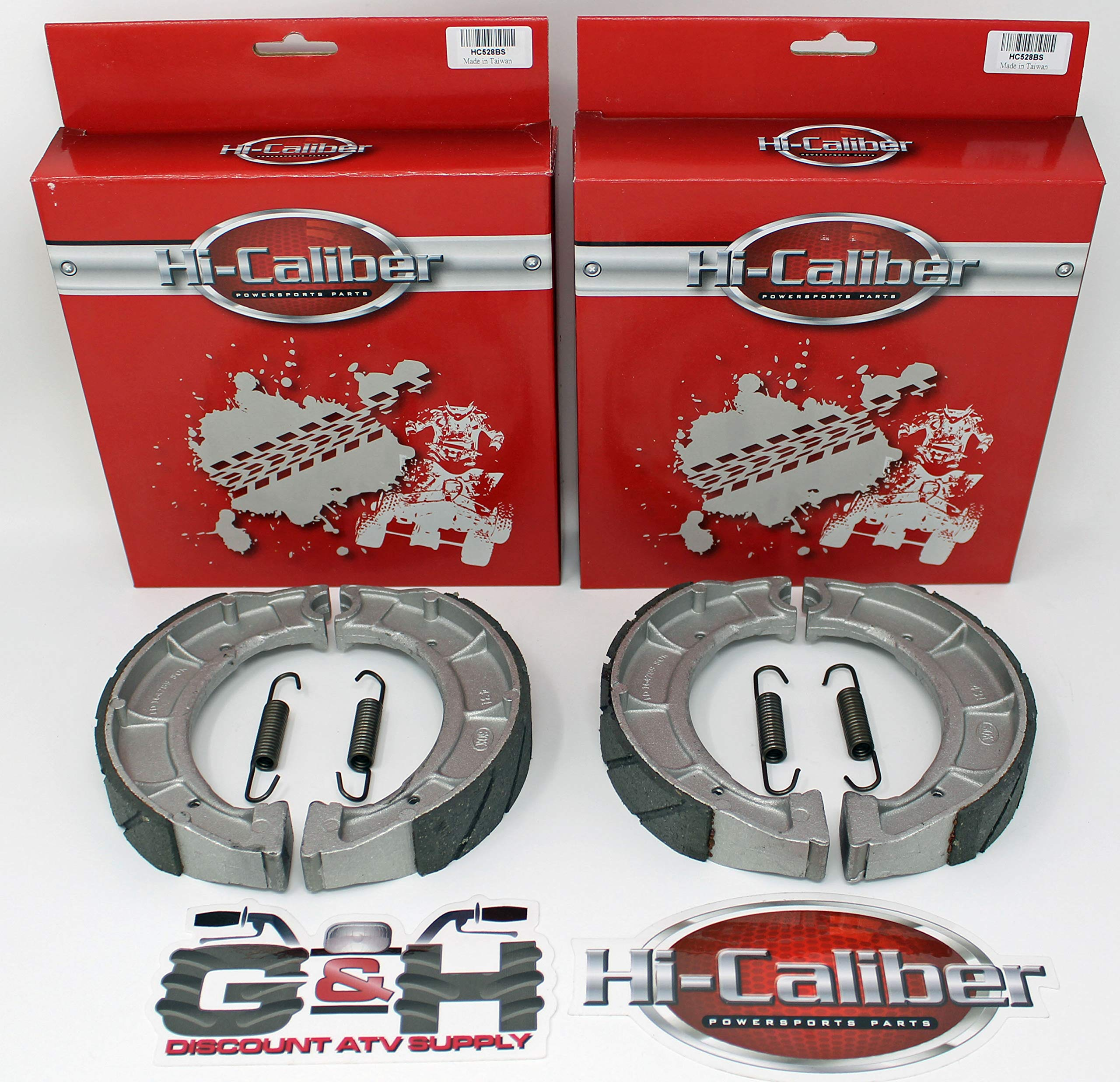 (2 Sets) WATER GROOVED Front Brake Shoes & Springs 1994-2000 Yamaha YFB 250 Timberwolf ATVs by Hi-Caliber Powersports Parts