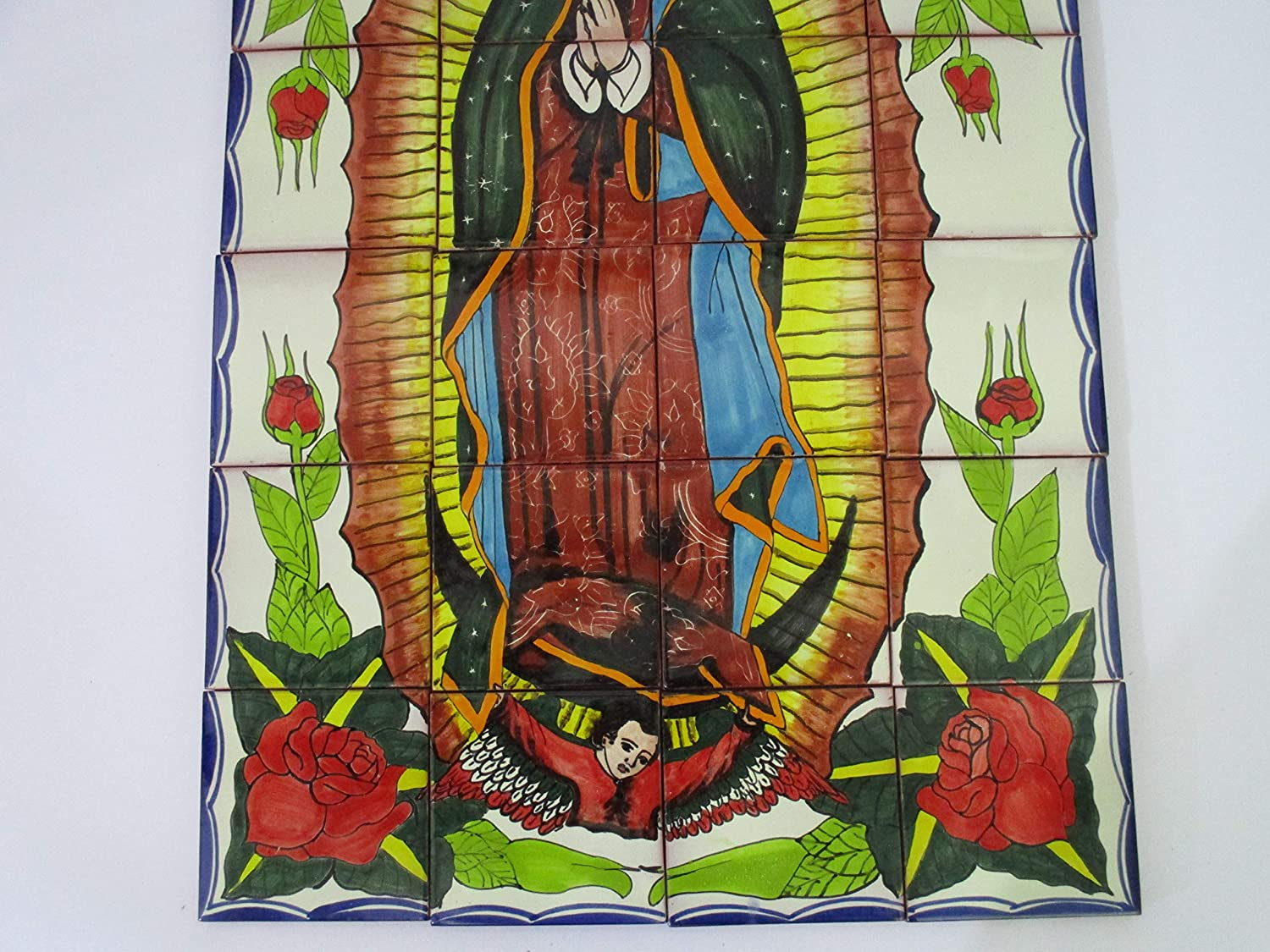 TALAVERA MOSAIC MURAL mexican tile backsplash Our Lady Of Guadalupe