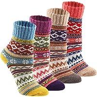 Wool Cozy Crazy Novelty Socks - KEAZA WZ02 Thick Cotton Vintage Women Sock 4pack