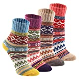 Wool Cozy Crazy Novelty Socks - KEAZA WZ02 Thick Cotton Warm Knitting Vintage BOHO Women Girl Sock for Winter Fall with Christmas Gift Package 4-pack