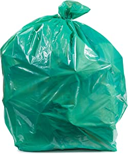 """Plasticplace 31-33 Gallon Trash Bags │ 1.2 Mil │ Green Heavy Duty Garbage Can Liners │ 33"""" x 39"""" (100 Count)"""