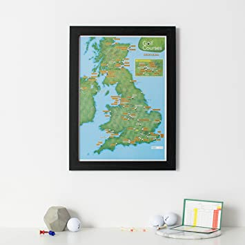 Scratch Off Uk Golf Courses Print Poster Gift For Golfers Black