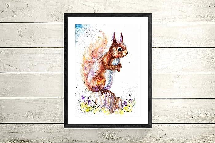Red Squirrel Gift Print Sale,Original Watercolour Card Wildlife,Animal,Art