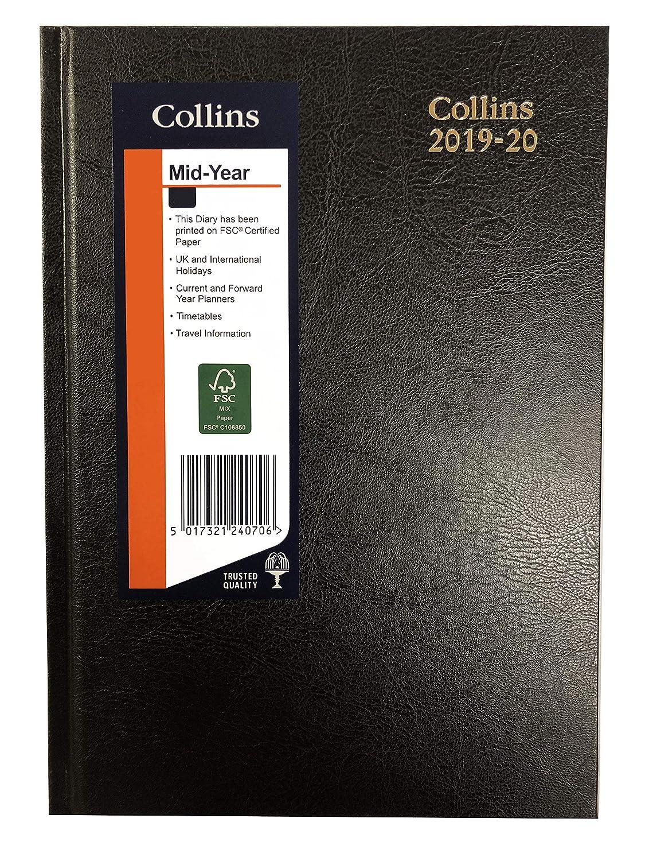 Collins 2019-2020 - Agenda de escritorio (52 m, A5, día por página), color negro