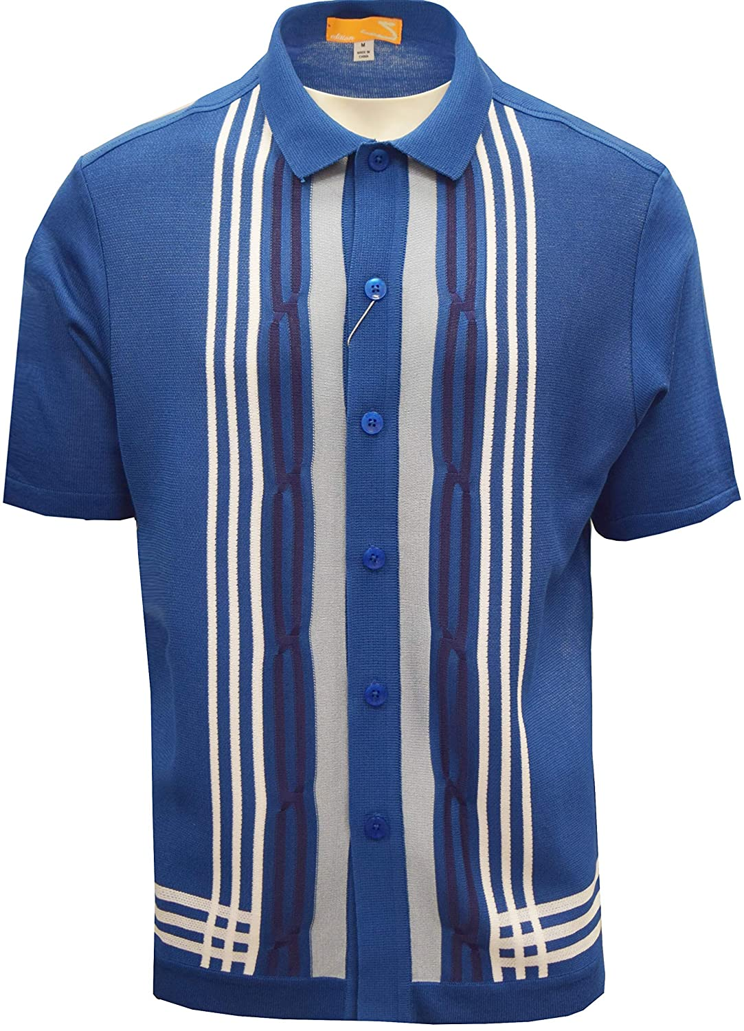 Retro Clothing for Men | Vintage Men's Fashion SAFIRE SILK INC. Edition S Mens Short Sleeve Knit Shirt - California Rockabilly Style: Multi Stripes $49.00 AT vintagedancer.com