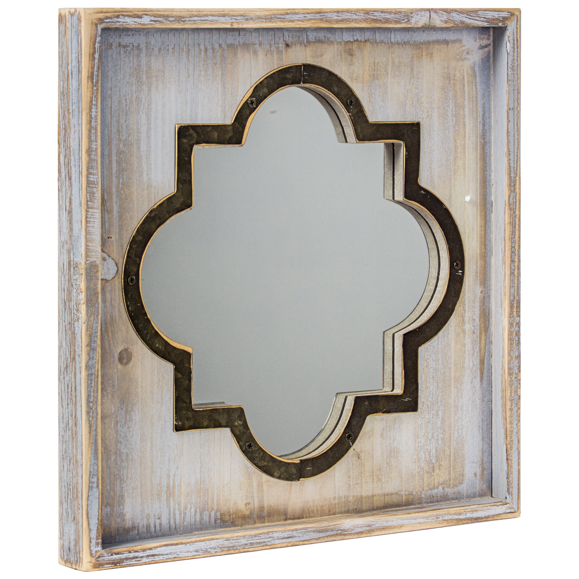 Crystal Art Whitewashed Rustic Wood & Metal Vanity Mirror (Square), Farmhouse Wall Décor, Multicolor