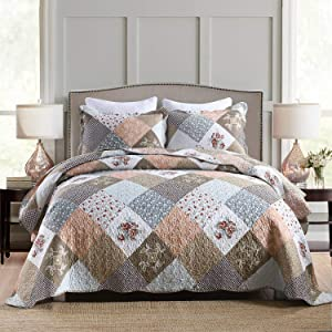 HoneiLife Quilt Set Queen Size - 3 Piece Microfiber Quilts Reversible Bedspreads Patchwork Coverlets Floral Bedding Set All Season Quilts,Mocha Rose-Queen/Full Size