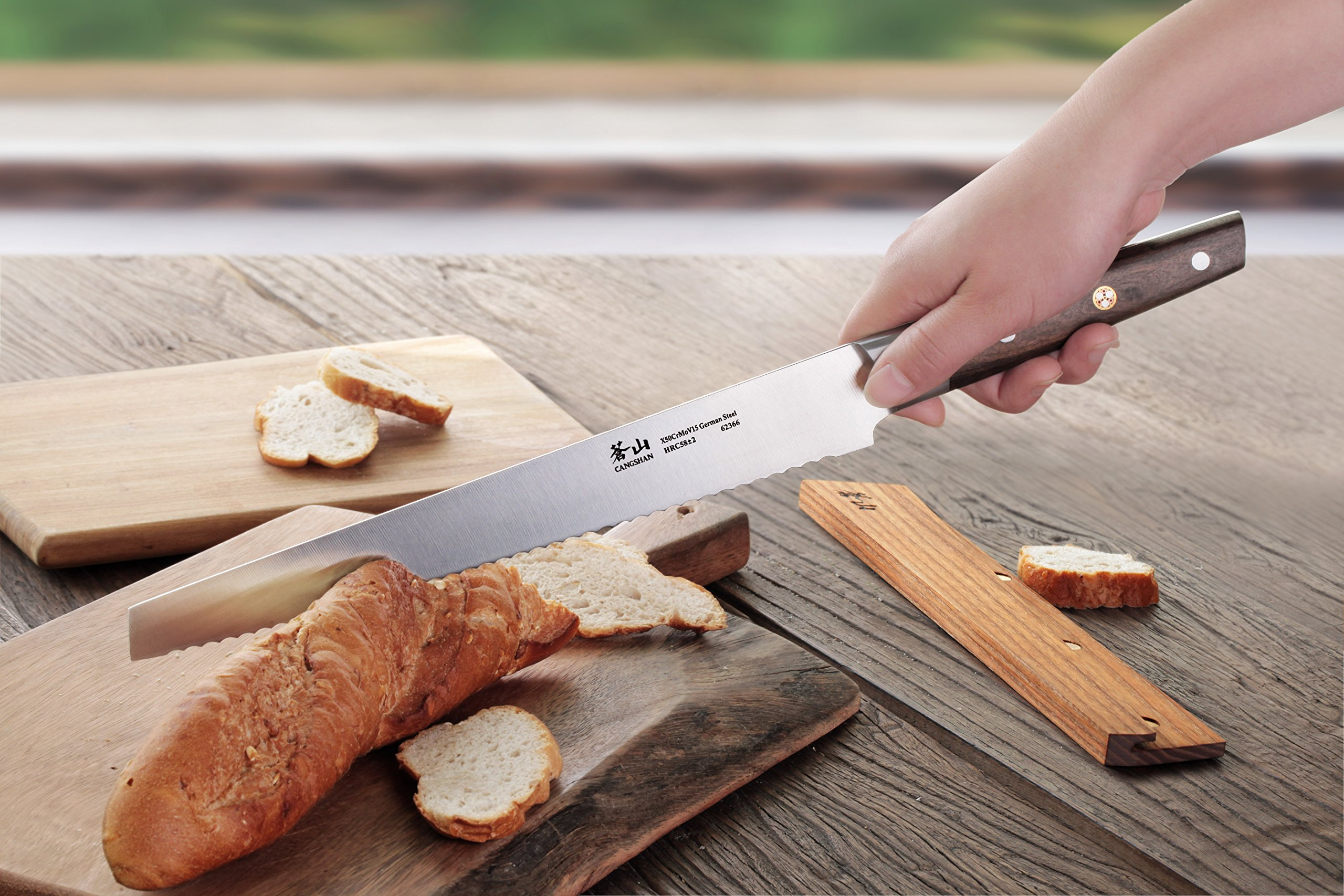 Cangshan R Series 62649 German Steel Forged Bread Knife with Ashwood Sheath, 10.25-Inch 8 Unique patent pending design that focuses on rich ultra-dense African blackwood handle Full tang forged from x50cr15mov german steel with hrc 58 +/- 2 on the rockwell hardness scale 8 in. bread knife perfect for slicing through a types of bread