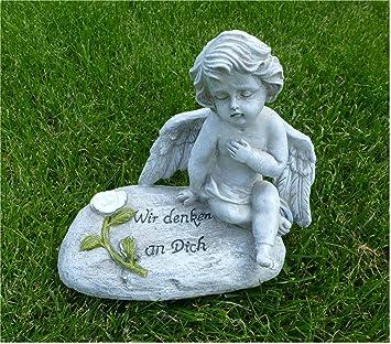 """Grabschmuck Engel auf Buch /""""In stillem Gedenken/"""" Grabengel Garten Friedhof 17cm"""