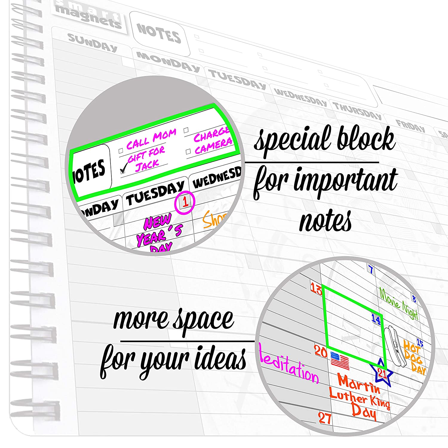 Amazon.com: Family Monthly Calendar Dry Erase Board - Large ...