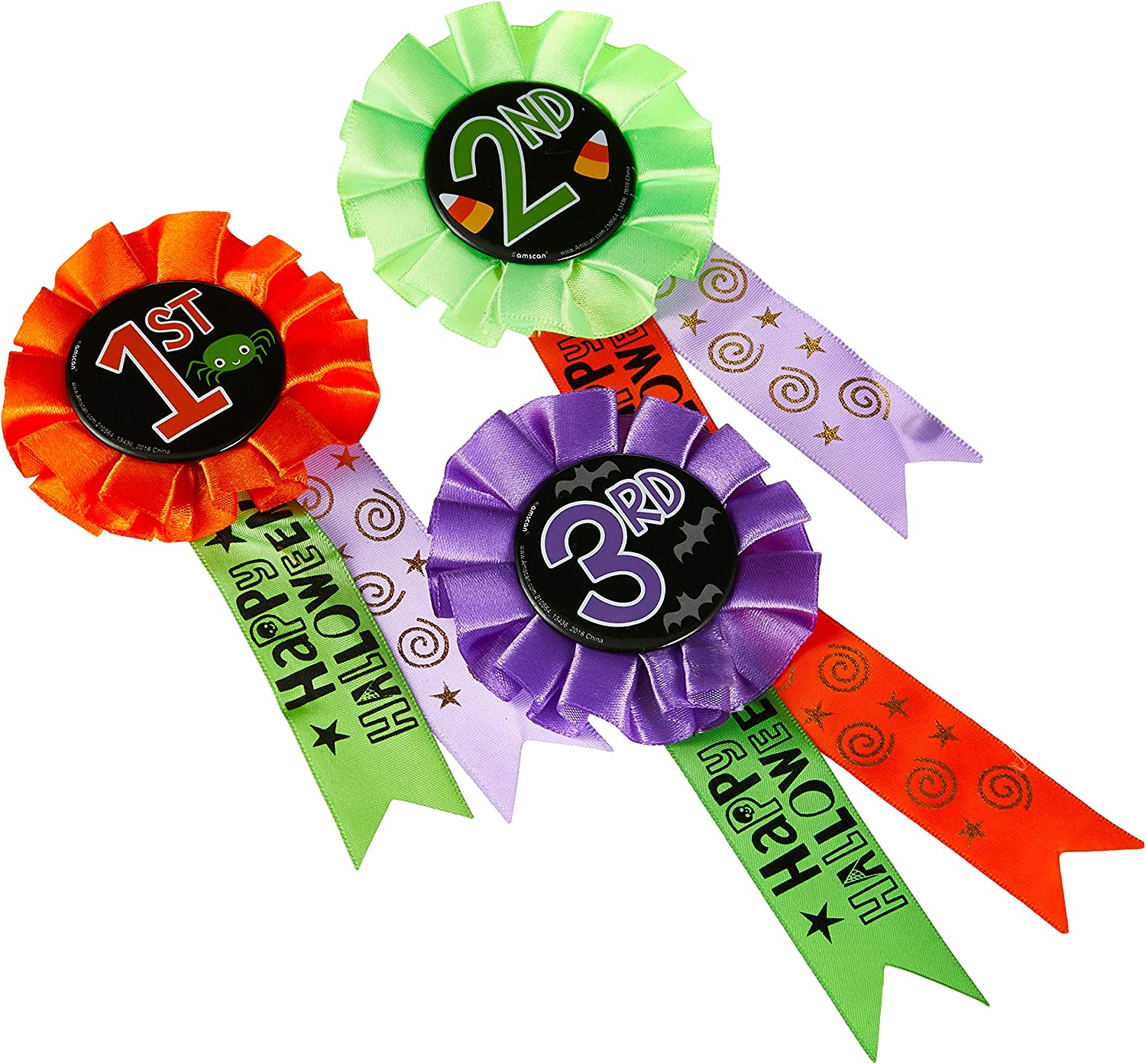 Halloween Party Rosettes X 5 Printed with Halloween themed ribbon FREE POSTAGE