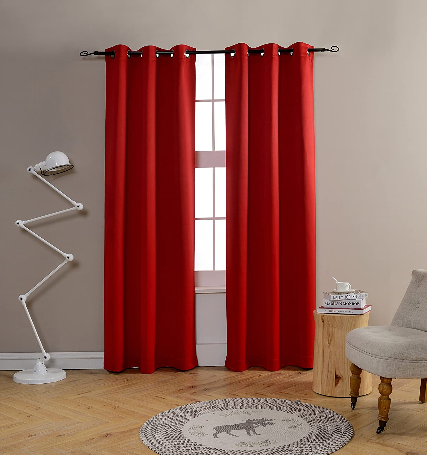 Mysky Home Grommet top Thermal Insulated Window Blackout Curtains