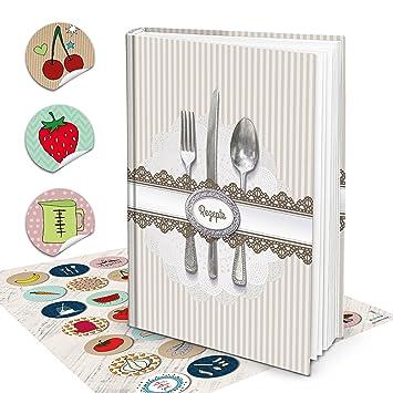 XXL libro de recetas escribir vintage Cubertería Plata Klassisch rayas libro de cocina Incluso escritura Plus