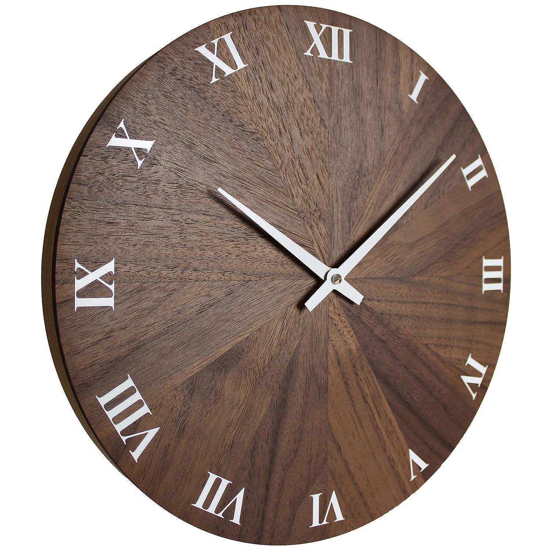 Nuss Nussbaum Massivholz ge/ölt 32cm rund modern Qualit/ätsprodukt EDER Wanduhr Holz Holzuhr Wand besteht aus 12 Dreiecken sehr leises Junghans Quarz Uhrwerk exklusiv handgemacht in /Österreich