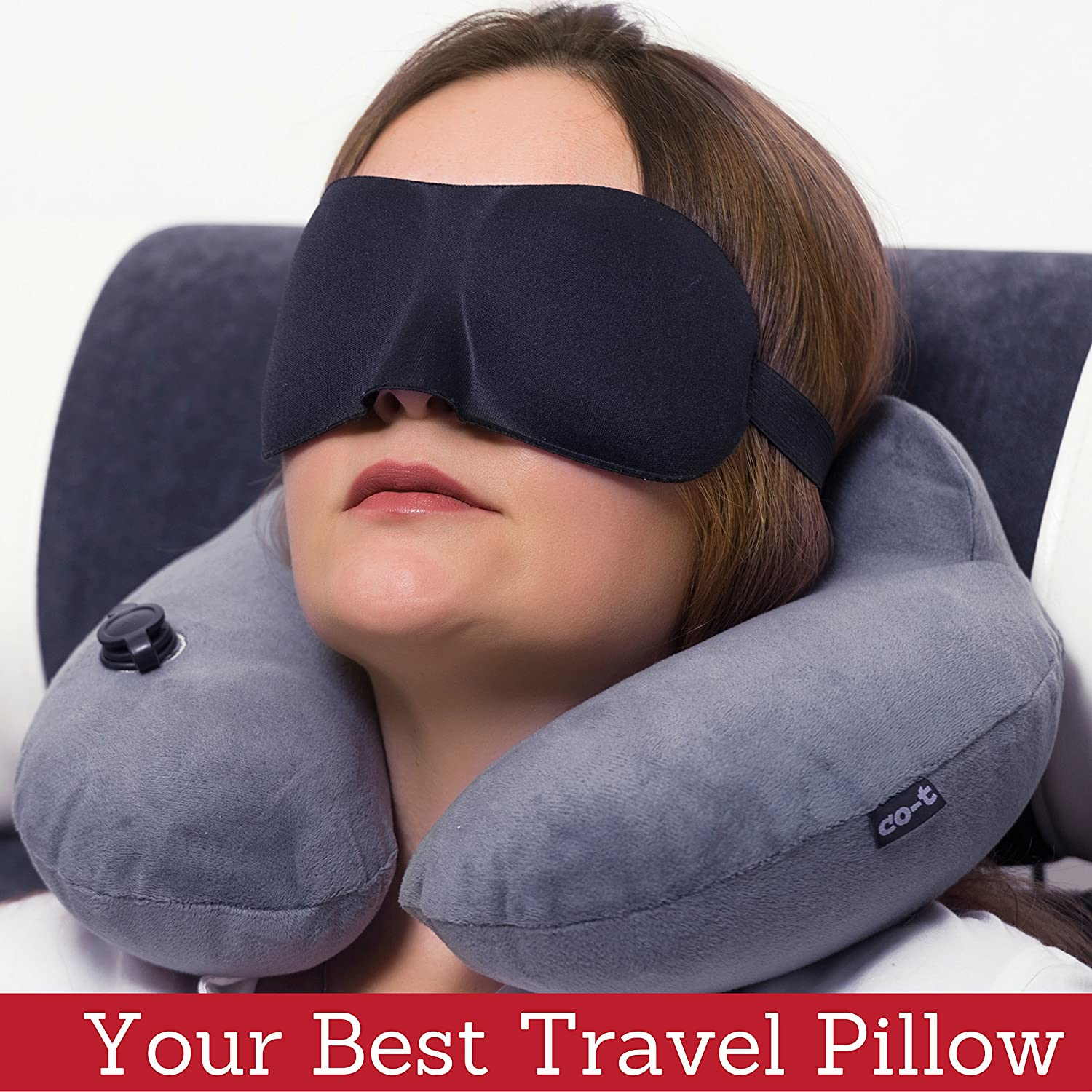 Inflatable Neck Pillow - Inflatable Travel Pillow Set for Airplane - Neck Travel Pillows for Women - Airplane Pillow for Men with Packsack - Soft Velvet Flight Pillow. Co-t
