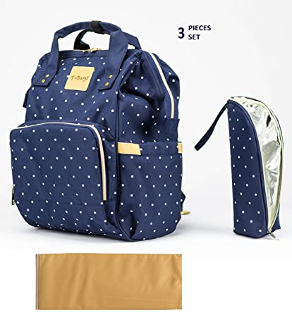 b218f1b2873 T-Bags Mommy and Baby Polka Dot Large Backpack Diaper Bag Blue with  Changing Mat and Bottle Cover-MB27B  Amazon.in  Bags