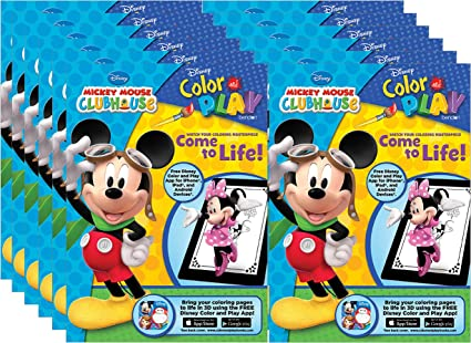 - Amazon.com: Bendon Mickey Mouse Clubhouse Color And Play 128-Page Coloring  And Activity Books (Pack Of 12): Toys & Games