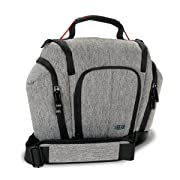 DSLR Camera Bag Sling with Weather Resistant Bottom, Soft Cushioned Interior and Side Lens Storage Pockets by USA Gear- Works Great for Nikon D500, Canon EOS 80D, Sony Cyber-Shot DSC-RX10 III & More