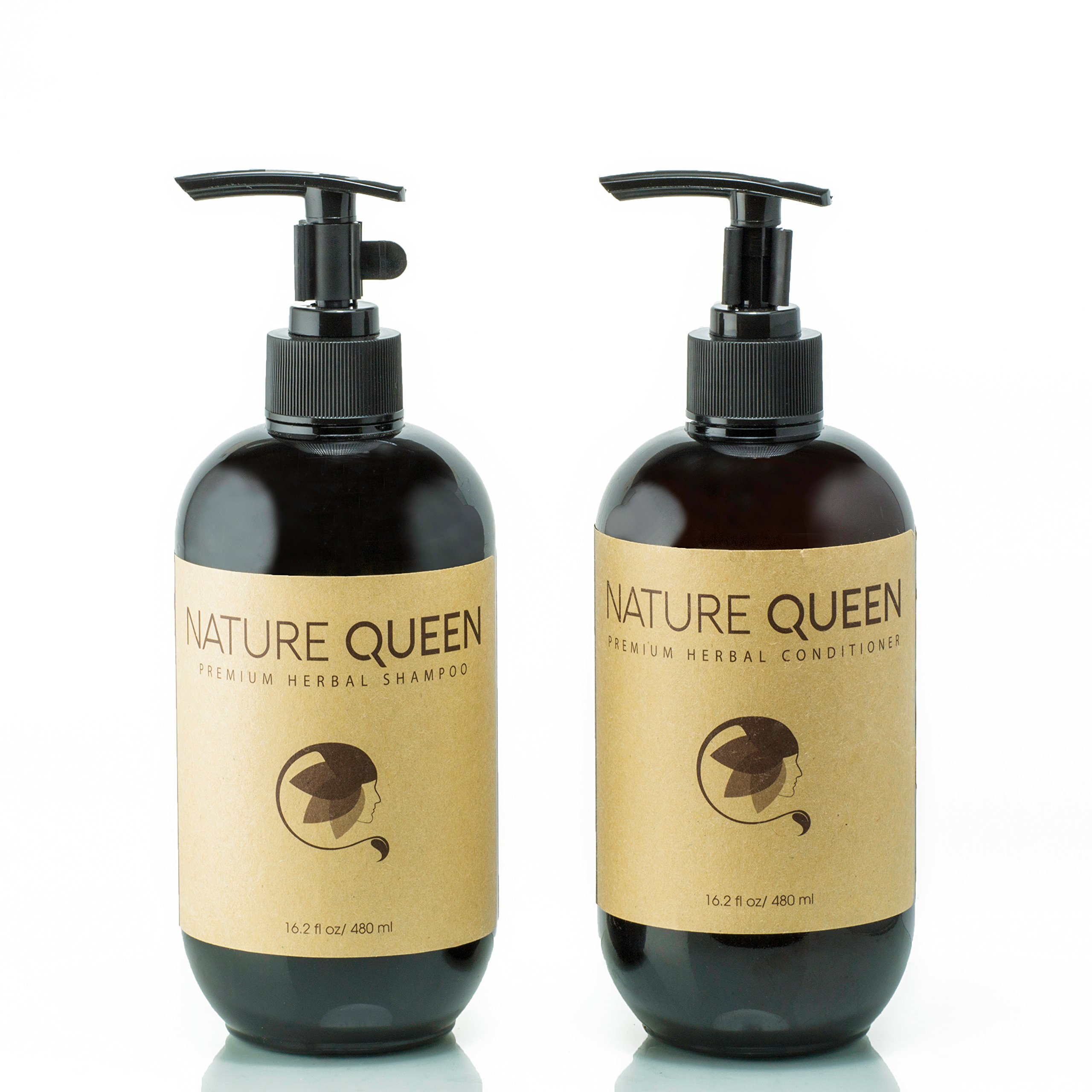 NATURE QUEEN Herbal Shampoo + Conditioner Set | Natural hair-care products that promote healthier hair growth and detoxification | Boost hair volume and get radiant shine with herbs and essential oils by NATURE QUEEN