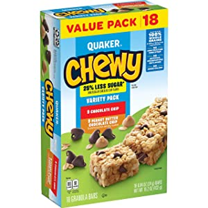 Quaker Chewy Granola Bars, 25% Less Sugar, 2 Flavor Variety Pack, (18 Pack)
