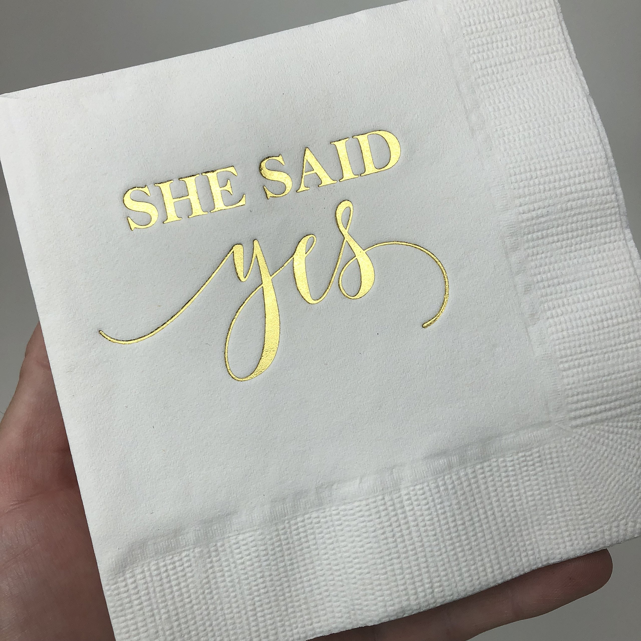 She Said Yes Bridal Shower Napkins, Gold Foil Napkins for Bridal Shower, Engagement Party Decor, White and Gold Fold, Cocktail Napkins, Beverage Napkins, She Said Yes