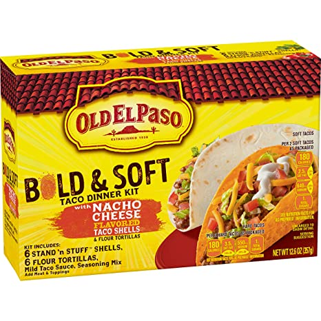 Old El Paso Taco Dinner Kit Bold Nacho Cheese Flavored & Soft, 12.6 oz (Pack of 8)