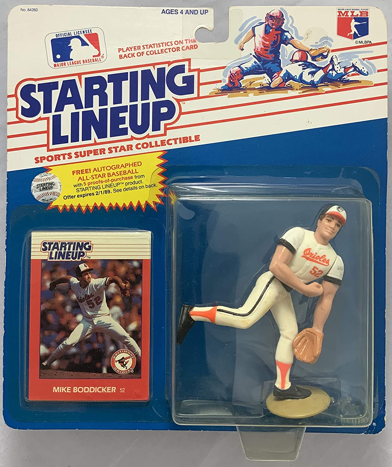 1988 KENNER STARTING LINEUP MLB MIKE BODDICKER BALTIMORE ORIOLES MOC