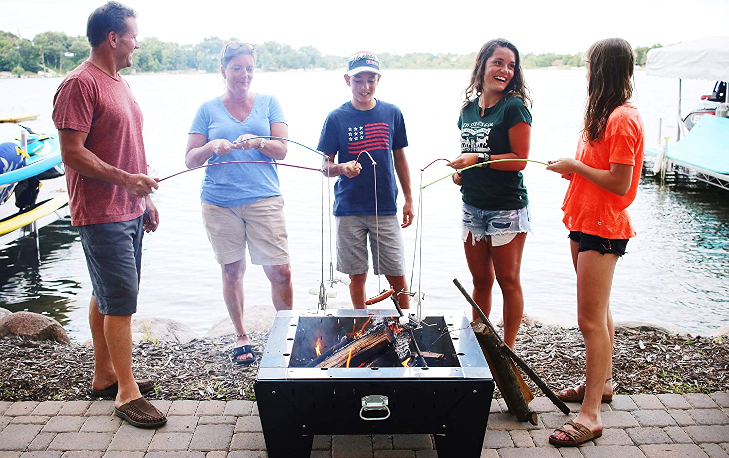 Extending Family Fun camping outdoors by fire pit cooking with skewers /& forks making Smores on a pole. roasting hotdogs at backyard patio campfire Family Fun Pak Marshmallow Roaster Sticks cooking