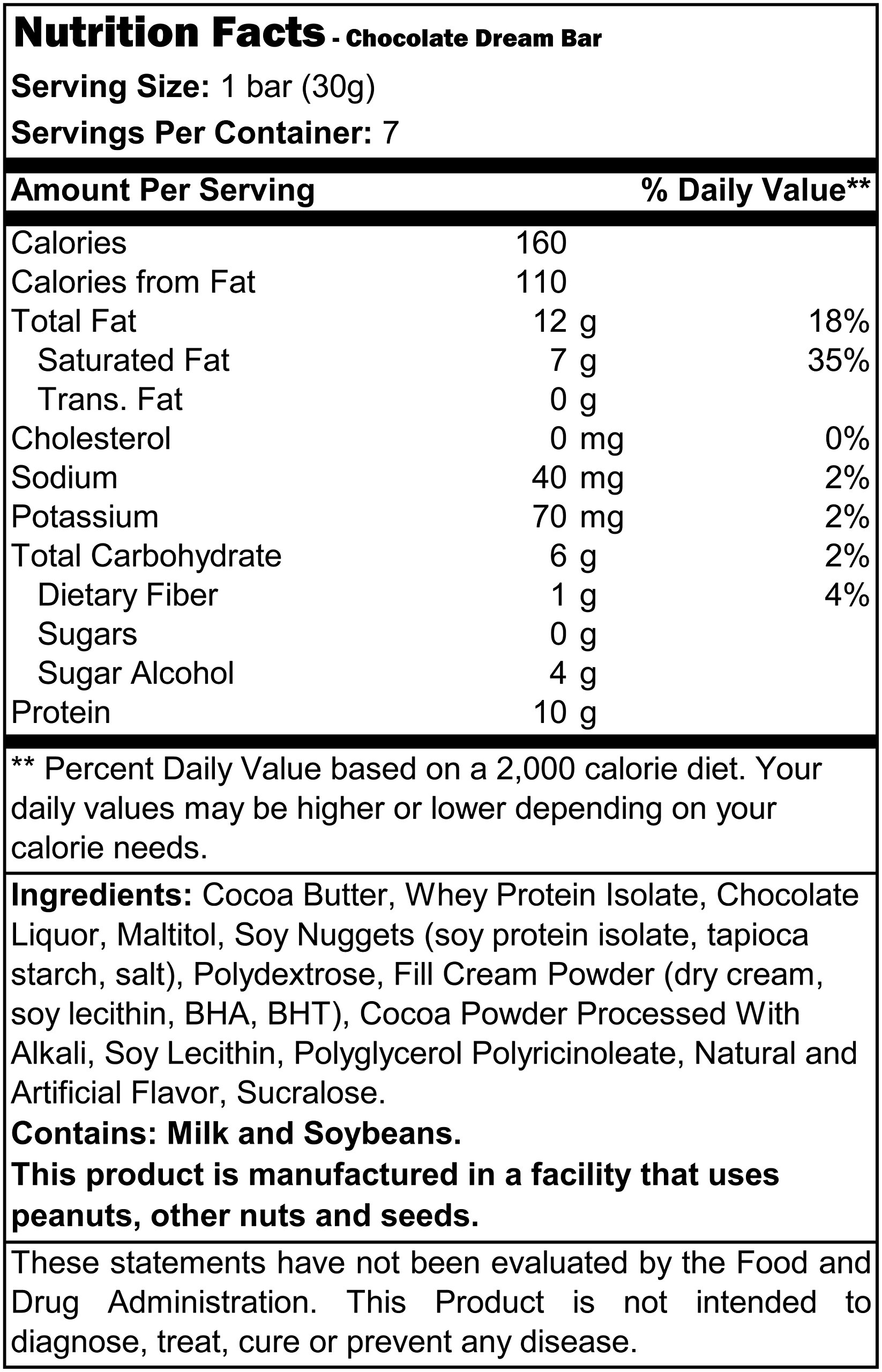 ProtiDiet High Protein Chocolate Dream Bar 7.4 oz (7 bars)