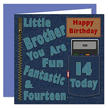 Little Brother 14th Happy Birthday Card