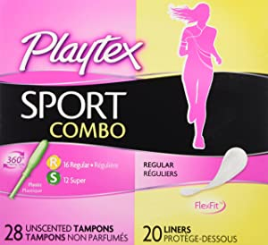 Playtex Sport Combo Pack with Regular and Super Tampons and Liners - 48 Count