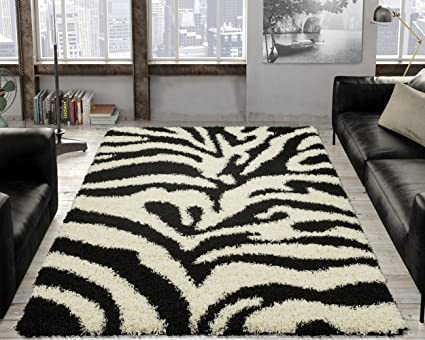 Ottomanson Animal Print Zebra Design High Pile Soft Shag Area Rug 5 X 7