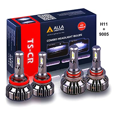 Alla Lighting Combo Xtreme Super Bright 9005/HB3 High Beam H9/H11 Low Beam LED Headlights Conversion Kits Bulbs Replacement, 6000K Xenon White: Automotive
