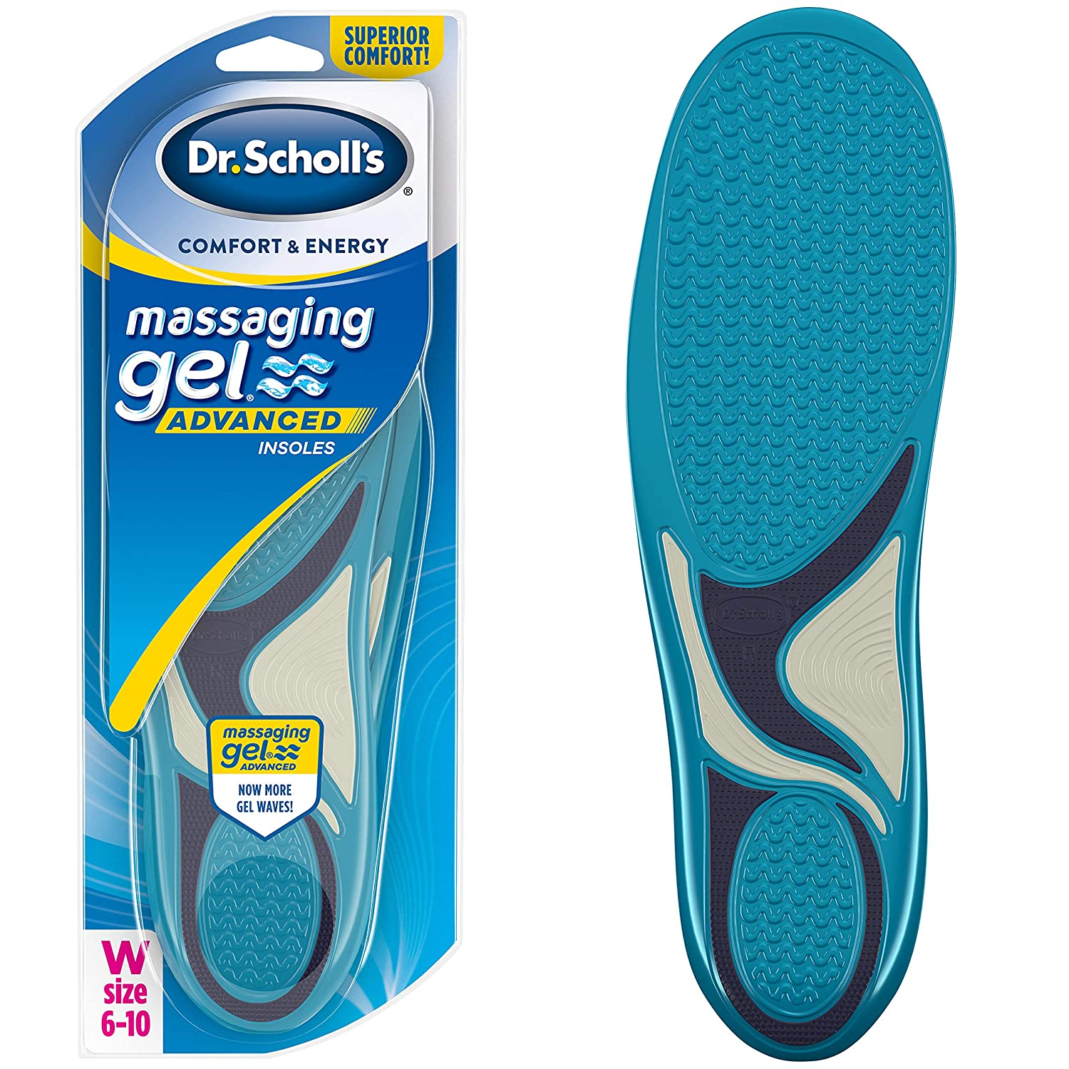 Packaging May Vary //// All-Day Comfort That Allows You to Stay on Your Feet Longer Dr Scholl/'s MASSAGING GEL Advanced Insoles Womens 6-10