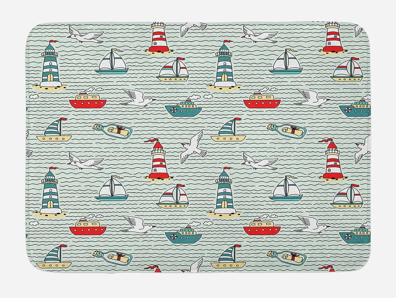 Ambesonne Lighthouse Bath Mat, Seagulls Lighthouses Message Bottles Steamboats Sailboats Wavy Pattern Nautical, Plush Bathroom Decor Mat with Non Slip Backing, 29.5
