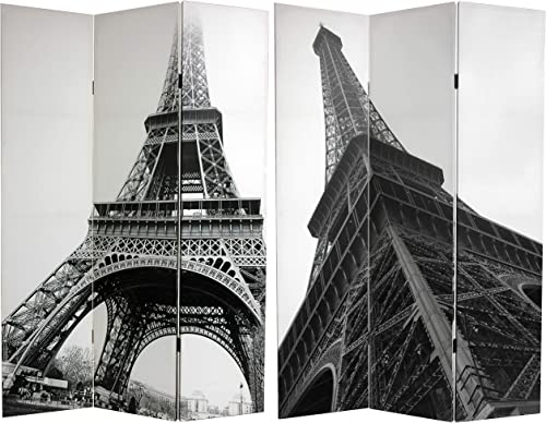 Oriental Furniture 6 ft. Tall Double Sided Eiffel Tower Canvas Room Divider