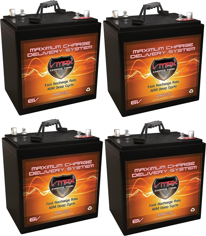 Qty 4 XTR6-235 6V 235AH: 6.48kWh (1.62kWh Each) AGM Solar Battery Bank for Home, RV, or Industrial Qty 4 VMAX Xtreme Series 6V AGM Deep Cycle 235Ah 6 Volt Batteries