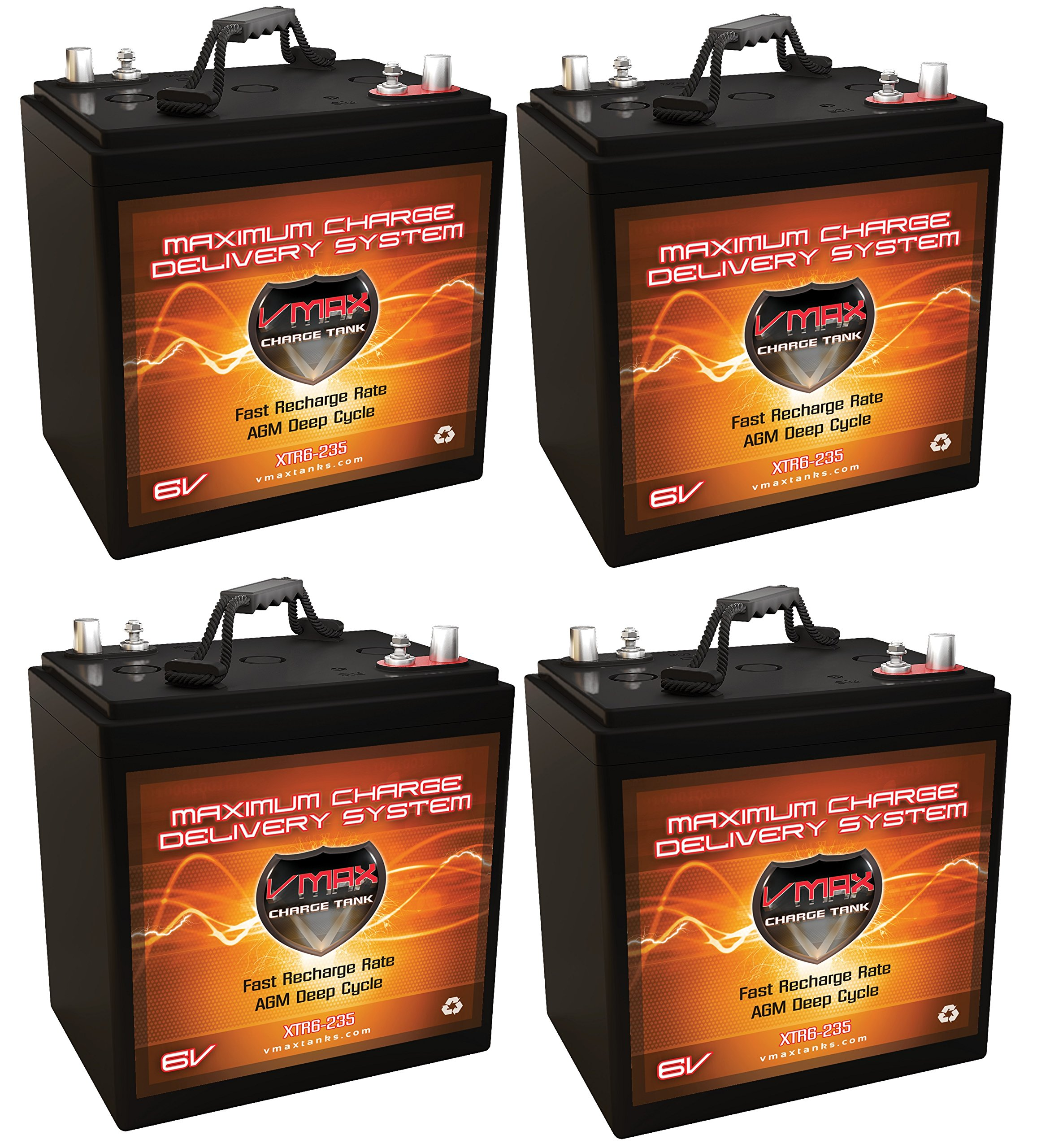 QTY 4 XTR6-235 6V 235AH: 6.48kWh (1.62kWh Each) AGM Solar Battery Bank for Home, RV, or Industrial Qty 4 VMAX Xtreme Series 6V AGM Deep Cycle 235Ah 6 Volt Batteries