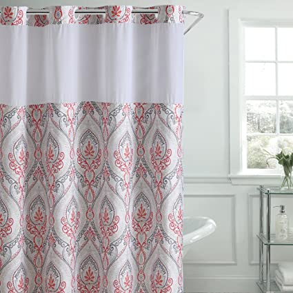 Amazon Hookless French Damask Print Shower Curtain With PEVA