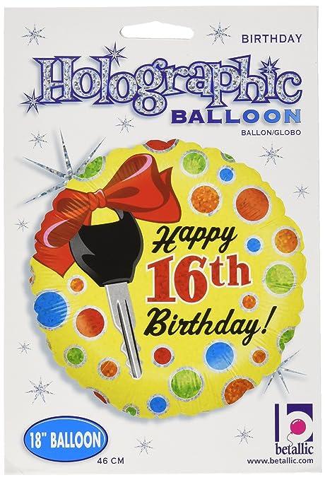 Amazon.com: Betallic 16º cumpleaños globo holográfica Dots ...