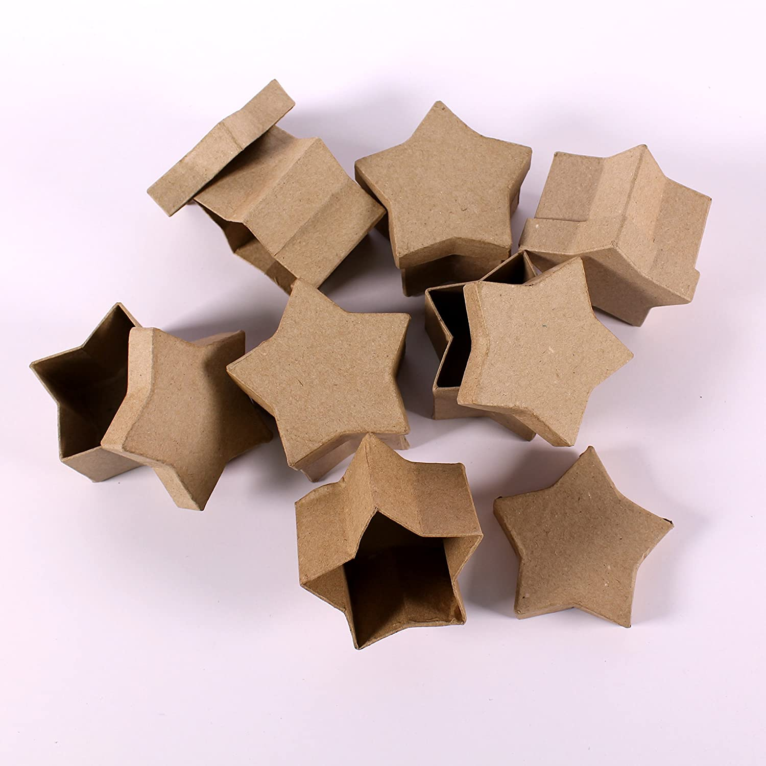 Mini Brown Star Shaped Papier Mache Paper Gift Box Easy Decorate Present Boxes Pack of 12 by BCreative ® GC621-12L