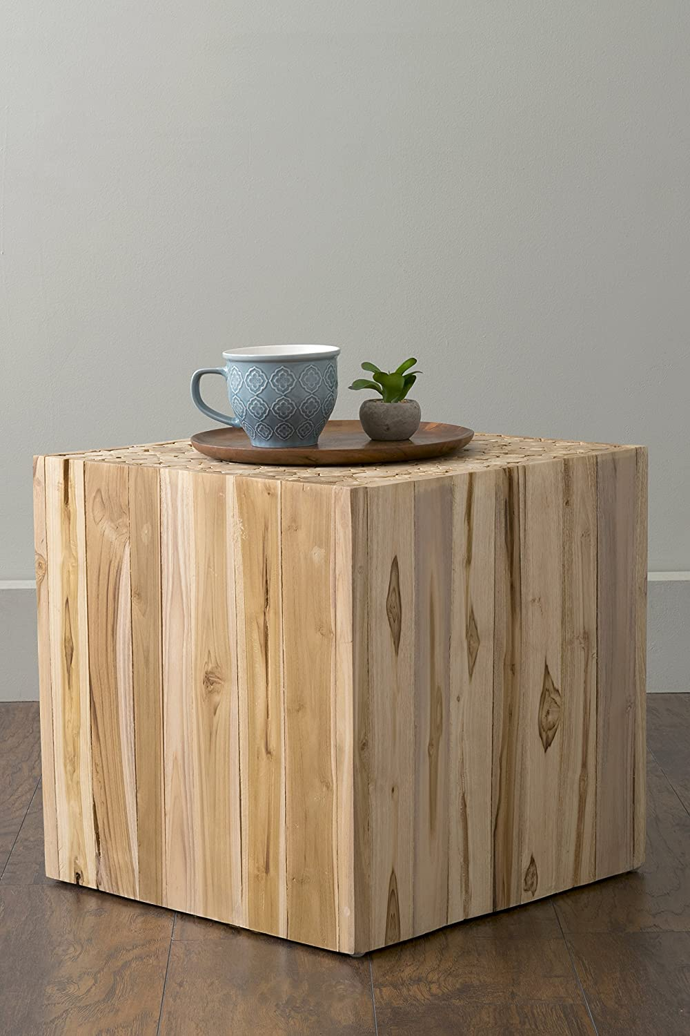 EAST at MAIN Merrill Brown Teakwood Square Accent Table, (18x18x18)